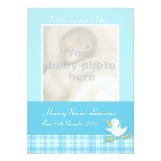 Newborn photo announcement card - blue check