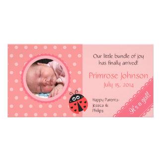 Newborn Photo Card: Ladybug with Pink Polka Dots