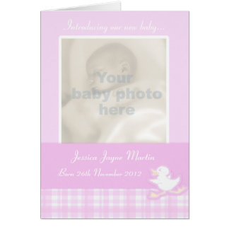 Newborn photo momento card - lillac check