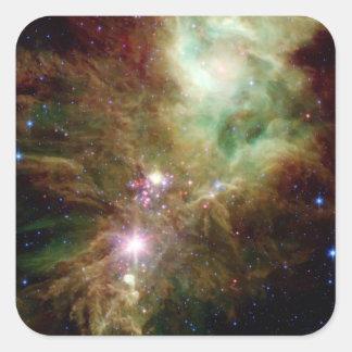 Newborn stars in the Christmas Tree cluster Square Sticker
