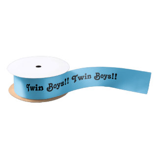 Newborn, twin boys, ribbon in blue and black. satin ribbon