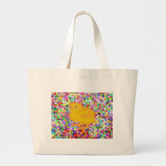 Newborn yellow chicken on colorful background tote bag