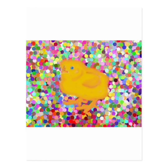 Newborn yellow chicken on colorful background postcard