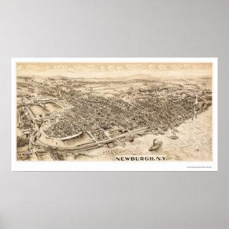 Newburgh, NY Panoramic Map - 1900 Poster