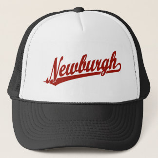 Newburgh script logo in red trucker hat
