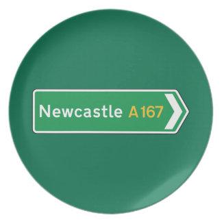 Newcastle señal de tráfico BRITÁNICA Plato Para Fiesta