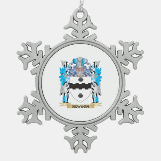 Newcom Coat of Arms - Family Crest Snowflake Pewter Christmas Ornament