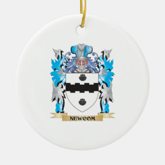 Newcom Coat of Arms - Family Crest Double-Sided Ceramic Round Christmas Ornament