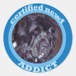 newf_addict classic round sticker