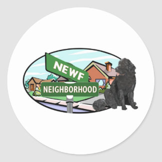 Newf Neighborhood Classic Round Sticker