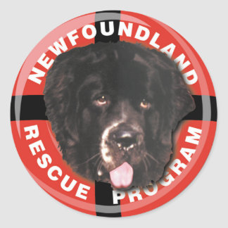 Newf Rescue Classic Round Sticker