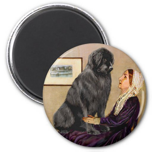 Newfie 1 - Whistler's Mother 2 Inch Round Magnet