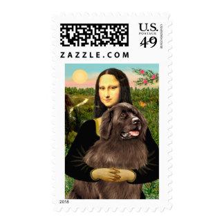 Newfie (brown) - Mona Lisa Postage Stamp