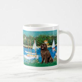 Newfie (brown) - Sailboats Coffee Mug