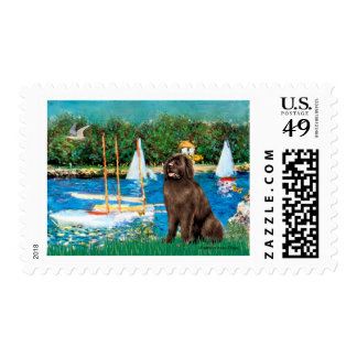 Newfie (brown) - Sailboats Postage