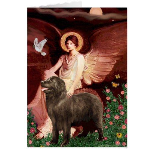 Newfie (brown) - Seated Angel Greeting Card