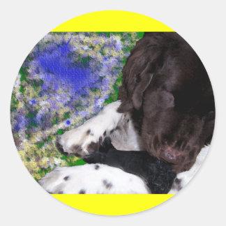 Newfie girl round sticker