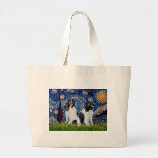 Newfie Landseer Pair - Starry Night Canvas Bag
