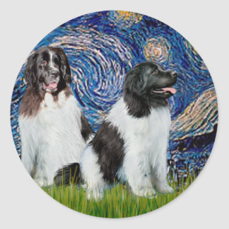 Newfie Landseer Pair - Starry Night Classic Round Sticker