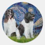 Newfie Landseer Pair - Starry Night Round Sticker