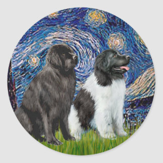 Newfie Pair (B1+L) - Starry Night Classic Round Sticker