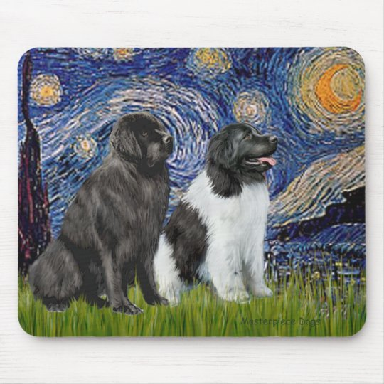 Newfie Pair (B1+L) - Starry Night Mouse Pad