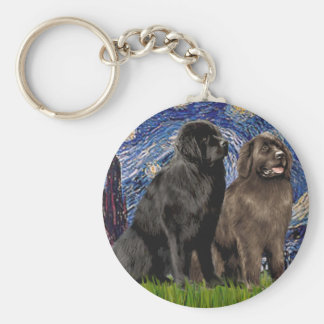 Newfie Pair - Starry Night Keychain