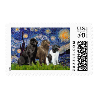 Newfie Trio - Starry Night Postage