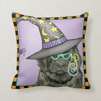 Newfie Witch Throw Pillow