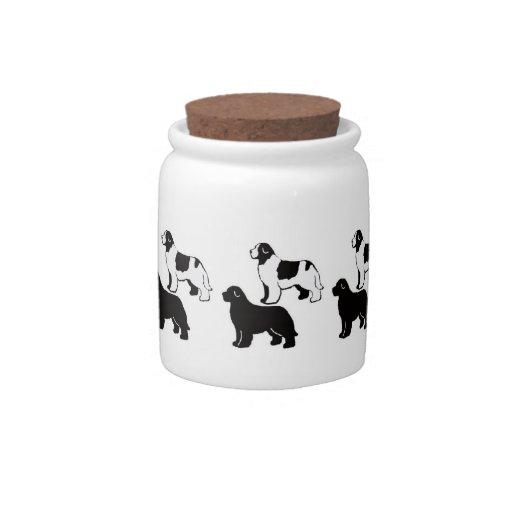 Newfoundland Black and White Treat Jar Candy Jar
