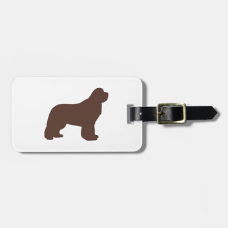 newfoundland brown silhouette luggage tag