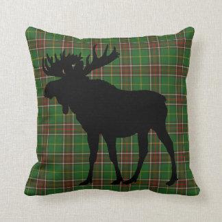 Newfoundland Canada Custom Tartan Moose rustic Throw Pillow