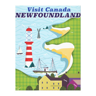 Newfoundland Canadian vintage travel poster Canvas Print
