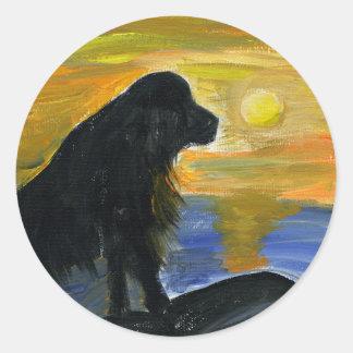 Newfoundland dog acrylic painting classic round sticker