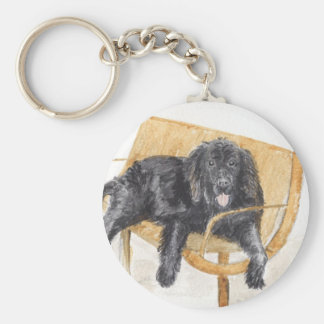 Newfoundland Dog Basic Round Button Keychain