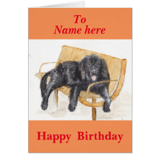 Newfoundland Dog, birthday, add name front Greeting Card