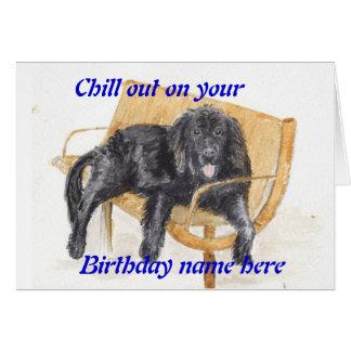 Newfoundland Dog birthday card Add name front