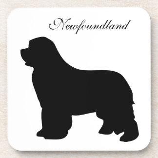 Newfoundland dog black silhouette coaster