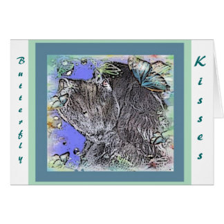 Newfoundland Dog Butterfly Kisses Greeting Card