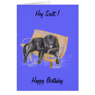 Newfoundland Dog, change the name, birthday card. Card