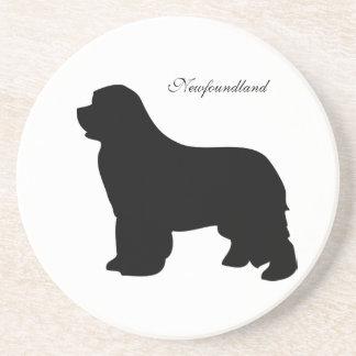 Newfoundland dog coaster, black silhouette, gift sandstone coaster