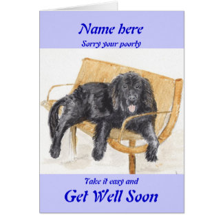Newfoundland Dog Get Well Soon card add name