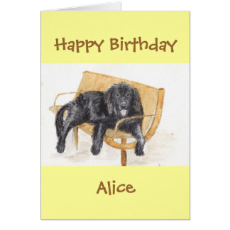 Newfoundland Dog Happy Birthday add name Card