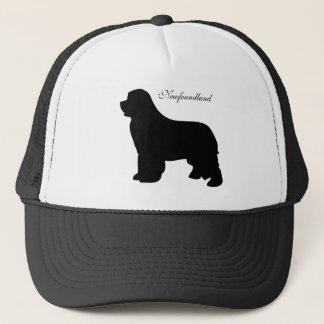Newfoundland dog hat, black silhouette trucker hat
