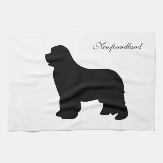 Newfoundland dog kitchen towel, black silhouette hand towel
