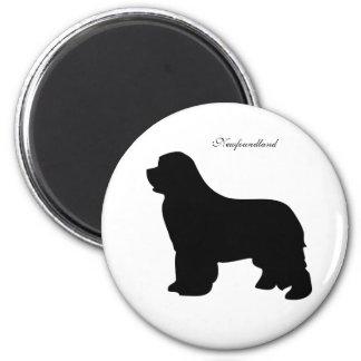 Newfoundland dog magnet, black silhouette 2 inch round magnet