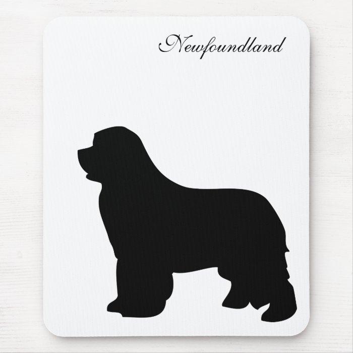 Newfoundland dog mousepad, black silhouette, gift mouse pad