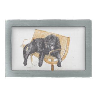 Newfoundland Dog on bench, Belt Buckle