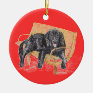Newfoundland Dog on bench, Ceramic Ornament