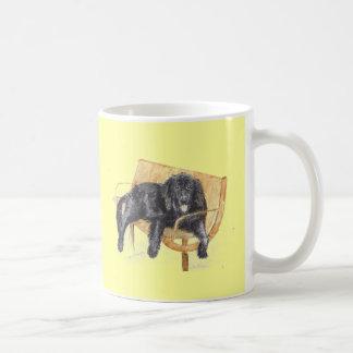 Newfoundland Dog on bench, Coffee Mug